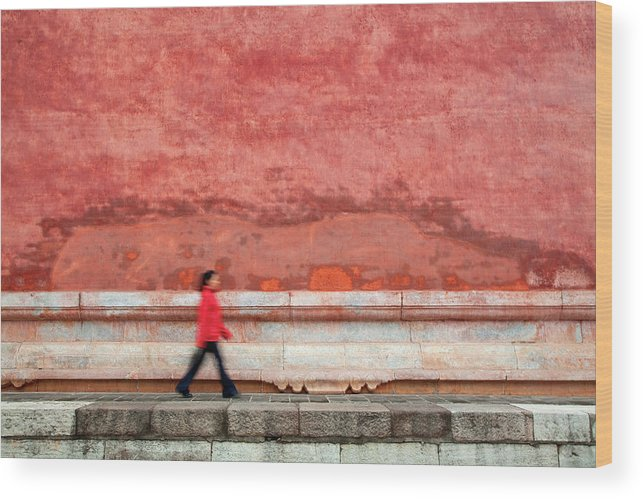 People Wood Print featuring the photograph Chinese Young Lady Walking By Monument by Grant Faint