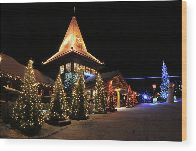 Holiday Wood Print featuring the photograph Christmas Decorated Town by Csondy