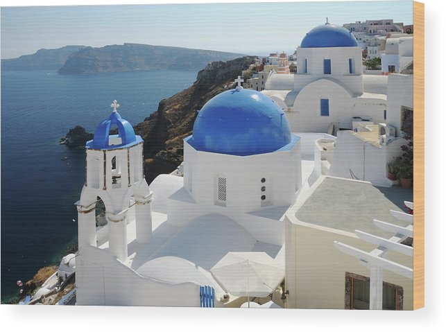 Greek Culture Wood Print featuring the photograph Churches In Oia, Santorini, Greece by Tunart