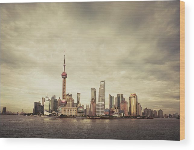 Communications Tower Wood Print featuring the photograph City Skyline At Sunset, Shanghai, China by D3sign