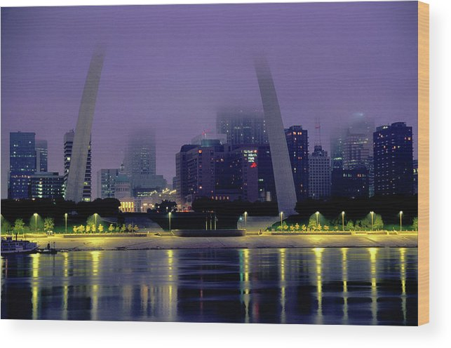 Arch Wood Print featuring the photograph City Skyline In Fog, With Gateway Arch by John Elk Iii