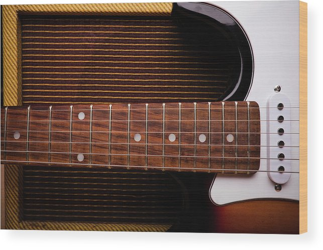 Rock Music Wood Print featuring the photograph Classic Electric Guitar And Amp Still by Halbergman