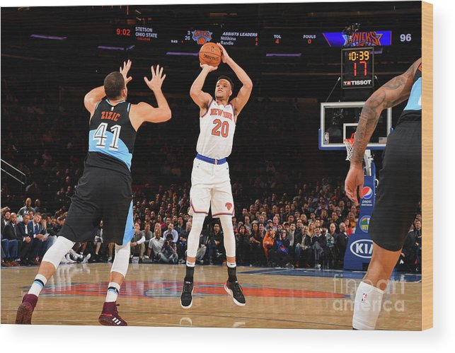Nba Pro Basketball Wood Print featuring the photograph Cleveland Cavaliers V New York Knicks by Jesse D. Garrabrant