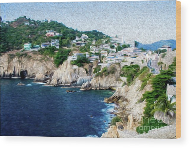 Cliffs In Alcapulco Wood Print featuring the digital art Cliffs in Acapulco Mexico I by Kenneth Montgomery