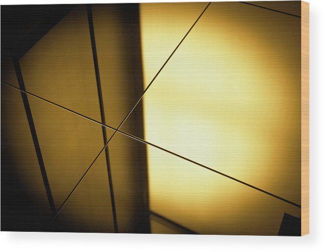 Shadow Wood Print featuring the photograph Close-up Spot Lit Reflection In Yellow by Ralf Hiemisch