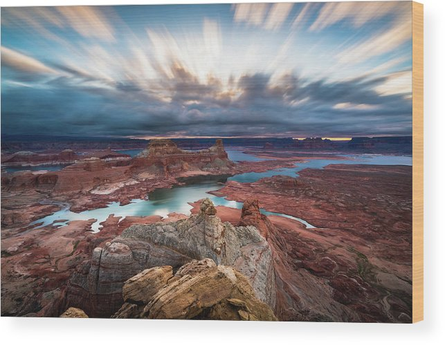 Lake Powell Wood Print featuring the photograph Cloudy Morning at Lake Powell by James Udall