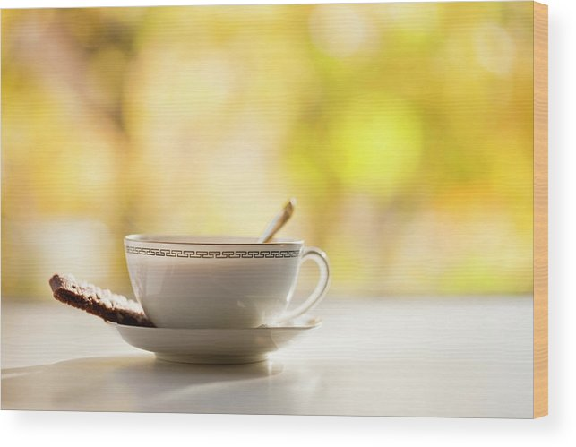 Food And Drink Wood Print featuring the photograph Coffee Cup With Cookie, Still Life by Johner Images
