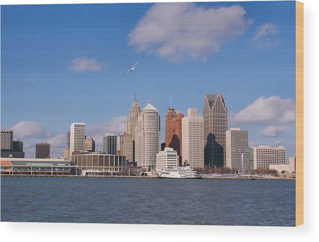 Downtown District Wood Print featuring the photograph Cold Detroit by Corfoto