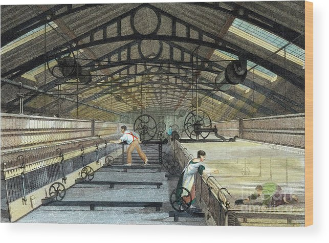 Working Wood Print featuring the drawing Cotton Manufacture Mule Spinning, C1830 by Print Collector