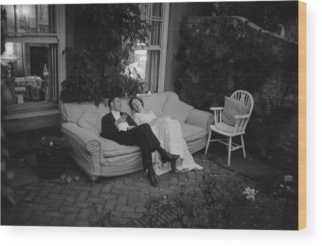 Debutante Wood Print featuring the photograph Couple At Party by Thurston Hopkins