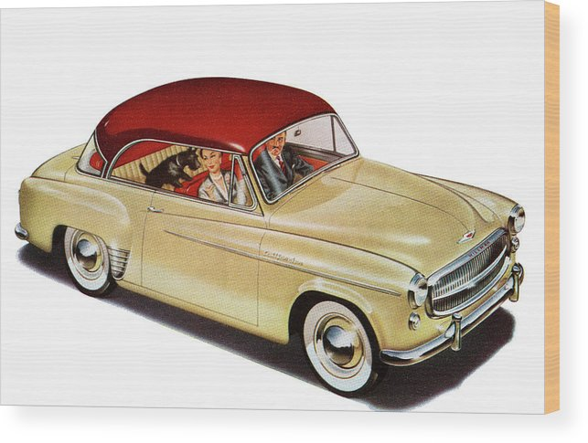 Pets Wood Print featuring the photograph Couple In Car With Scotty Dog by Graphicaartis