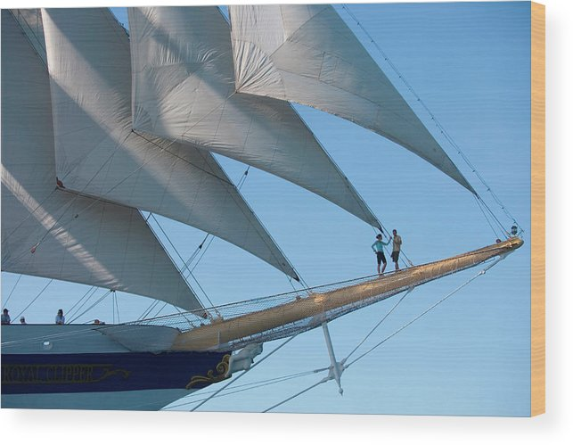 Heterosexual Couple Wood Print featuring the photograph Couple On Bowsprit Of Sailing Ship by Holger Leue