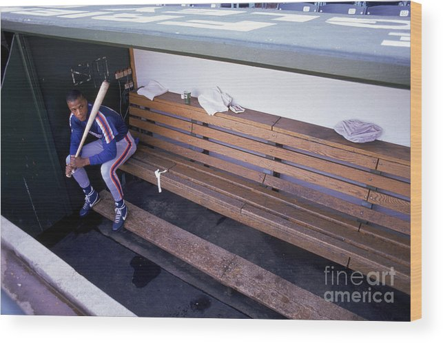 People Wood Print featuring the photograph Darryl Strawberry Sits In The Dugout by Jonathan Daniel