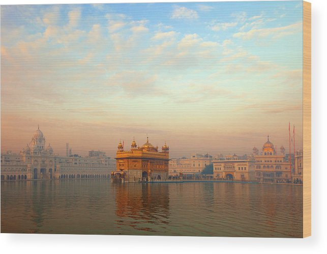 Dawn Wood Print featuring the photograph Dawn At The Golden Temple, Amritsar by Adrian Pope