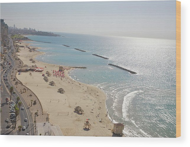 Tranquility Wood Print featuring the photograph Day View Of Tel Aviv Promenade And Beach by Barry Winiker