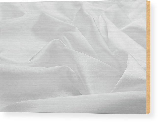 Curve Wood Print featuring the photograph Delicate White Satin Silk Background by Narcisa