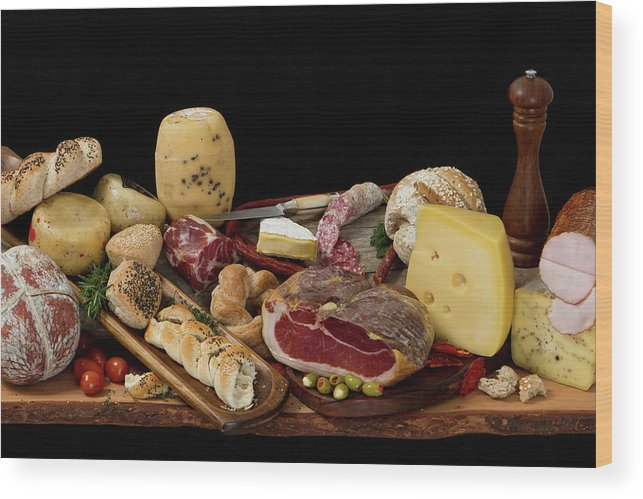 Cheese Wood Print featuring the photograph Delicious Typical Argentinean Antipasto by Ruizluquepaz