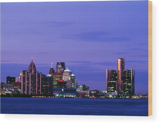 Downtown District Wood Print featuring the photograph Detroit Skyline At Night In Usa by Design Pics
