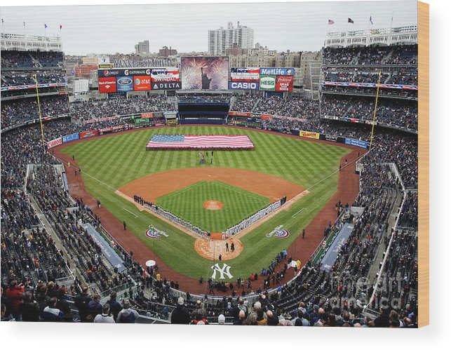 Topics Wood Print featuring the photograph Detroit Tigers V New York Yankees by Jeff Zelevansky