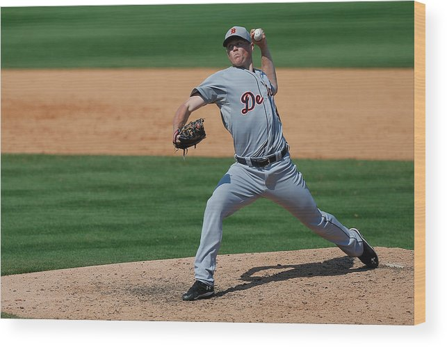 American League Baseball Wood Print featuring the photograph Detroit Tigers V St Louis Cardinals by Stacy Revere
