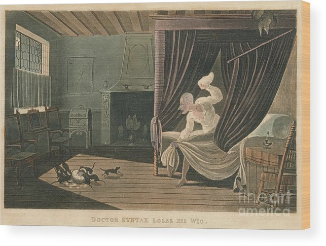 Etching Wood Print featuring the drawing Doctor Syntax Loses His Wig, 1820 by Print Collector