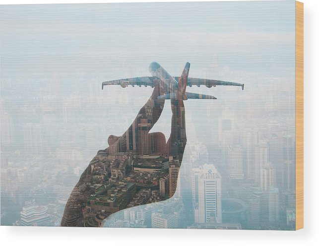 People Wood Print featuring the photograph Double Exposure Of Hand Holding Model by Jasper James