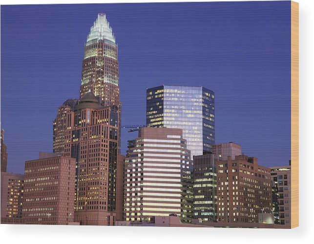 North Carolina Wood Print featuring the photograph Downtown Charlotte, Nc At Night by Jumper