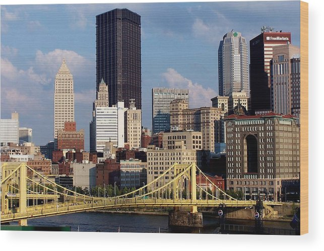 Downtown District Wood Print featuring the photograph Downtown Pittsburgh Panorama From Pnc by Photo By Paul D. Toth