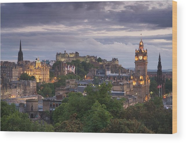 Lothian Wood Print featuring the photograph Edinburgh At Dusk by Northlightimages