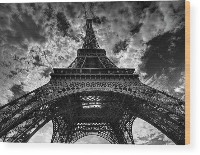 Arch Wood Print featuring the photograph Eiffel Tower by Allen Parseghian