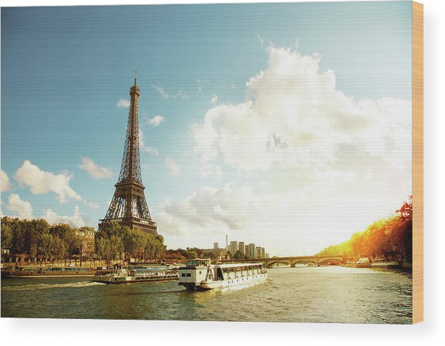 Arch Wood Print featuring the photograph Eiffel Tower And The River Seine by Vintagerobot