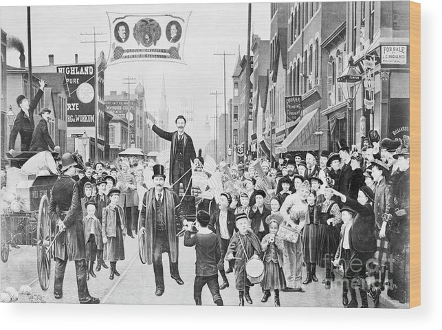 People Wood Print featuring the photograph Election Parade Lithograph Supporting by Bettmann