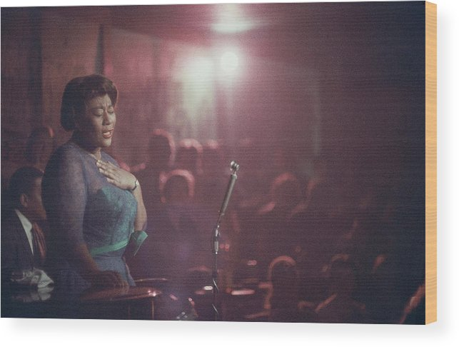 Ella Fitzgerald Wood Print featuring the photograph Ella Fitzgerald Performs by Yale Joel