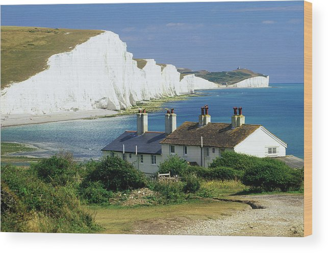 Scenics Wood Print featuring the photograph England, Sussex, Seven Sisters Cliffs by David C Tomlinson