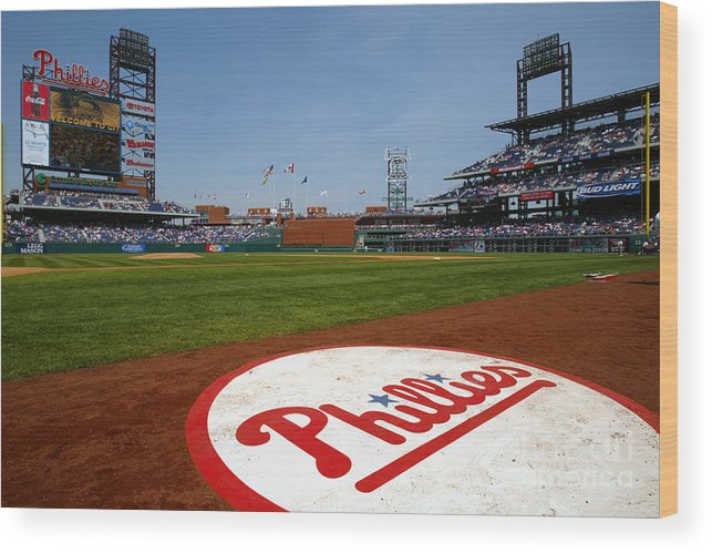 Scenics Wood Print featuring the photograph Expos V Phillies by Jamie Squire