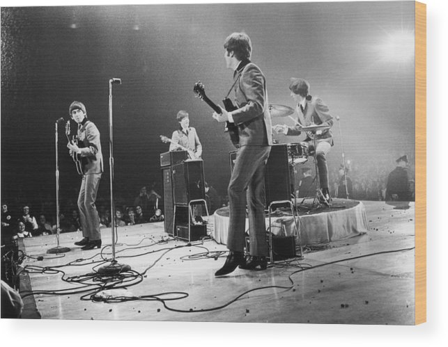 Singer Wood Print featuring the photograph Fab Four Stateside by Central Press