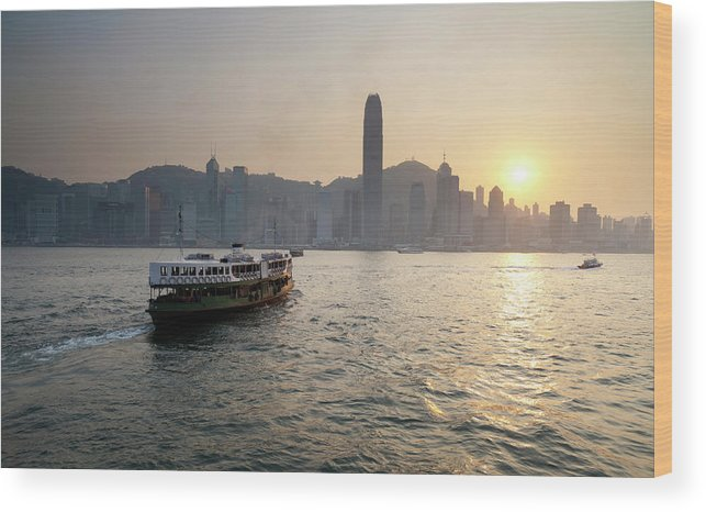 Chinese Culture Wood Print featuring the photograph Ferry Boat To Hong Kong by Simonbradfield