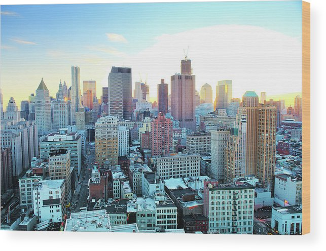 Tranquility Wood Print featuring the photograph Financial District by Tony Shi Photography