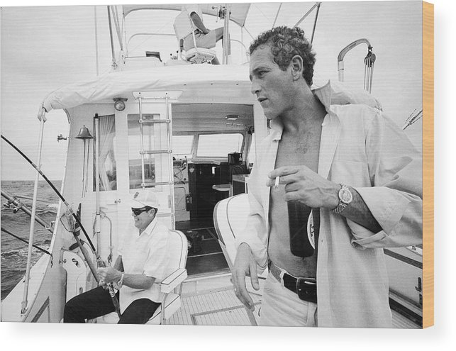 Timeincown Wood Print featuring the photograph Fishing With Paul Newman by Mark Kauffman