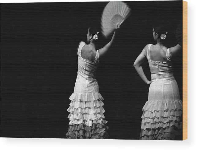 Ballet Dancer Wood Print featuring the photograph Flamenco Lace Fan by T-immagini
