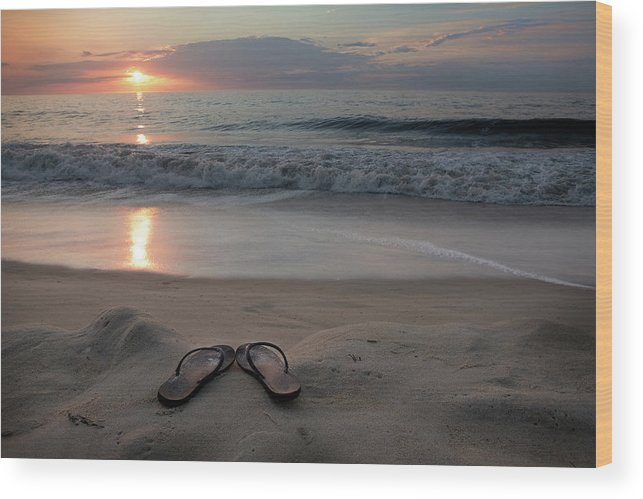 Water's Edge Wood Print featuring the photograph Flip-flops On The Beach by Sdominick