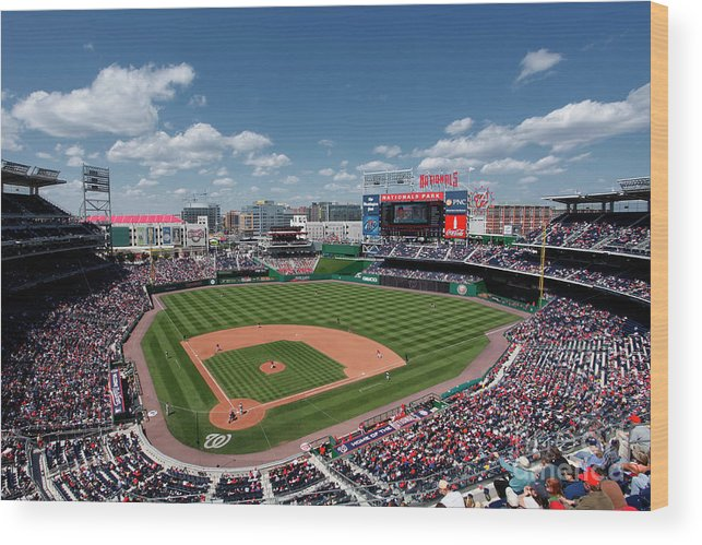 National League Baseball Wood Print featuring the photograph Florida Marlins V Washington Nationals by Joe Robbins