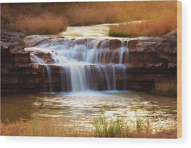 Scenics Wood Print featuring the photograph Flowing Water On The Yellow Rock by Xenotar