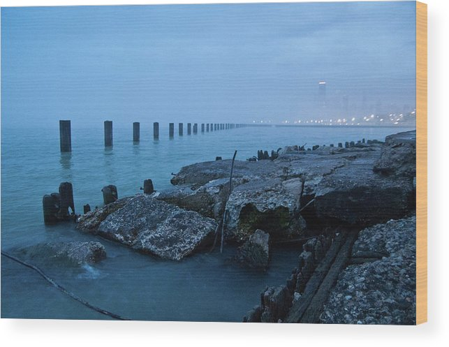 Lake Michigan Wood Print featuring the photograph Foggy View Of Chicago From Lakeshore by Megan Ahrens