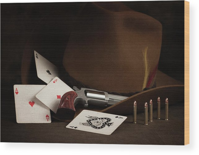 Brown Wood Print featuring the photograph Four Aces Still Life by Tom Mc Nemar