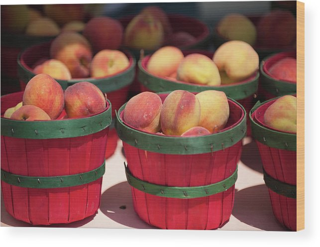 Retail Wood Print featuring the photograph Fresh Texas Peaches In Colorful Baskets by Txphotoblog - Randy Ennis