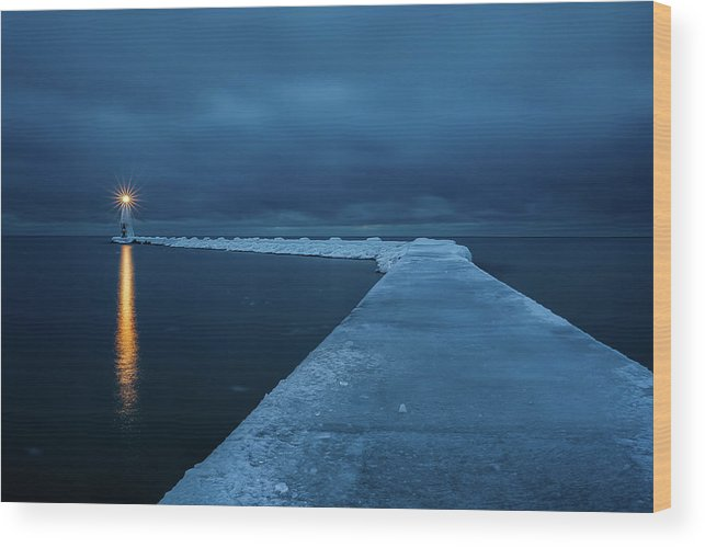 Tranquility Wood Print featuring the photograph Frozen Path by John Fan Photography