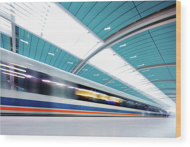 Aerodynamic Wood Print featuring the photograph Futuristic Train by Nikada