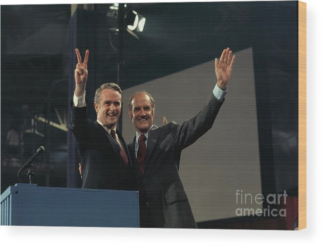 People Wood Print featuring the photograph George Mcgovern And Thomas Eagleton by Bettmann