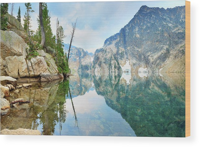 Tranquility Wood Print featuring the photograph Goat Lake On Cloudy Day In Sawtooth by Anna Gorin